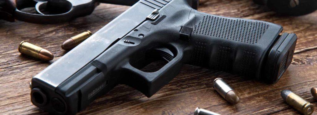 gun laying on table